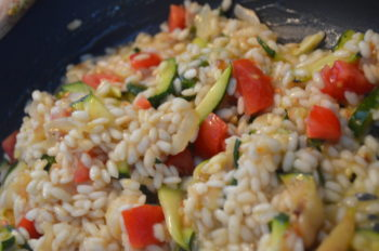 Risotto d'estate mantecato al gorgonzola