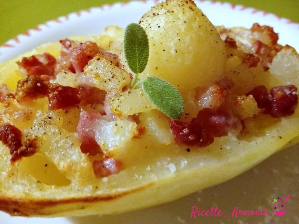 Barchette di patate con pancetta