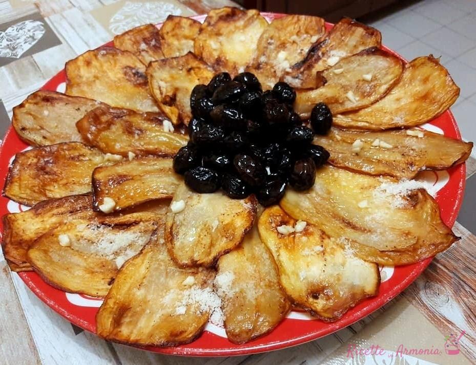 parmigiana bianca e olive fritte