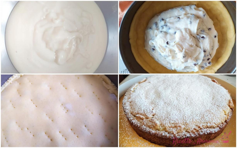 Crostata ripiena di crema di latte e ricotta
